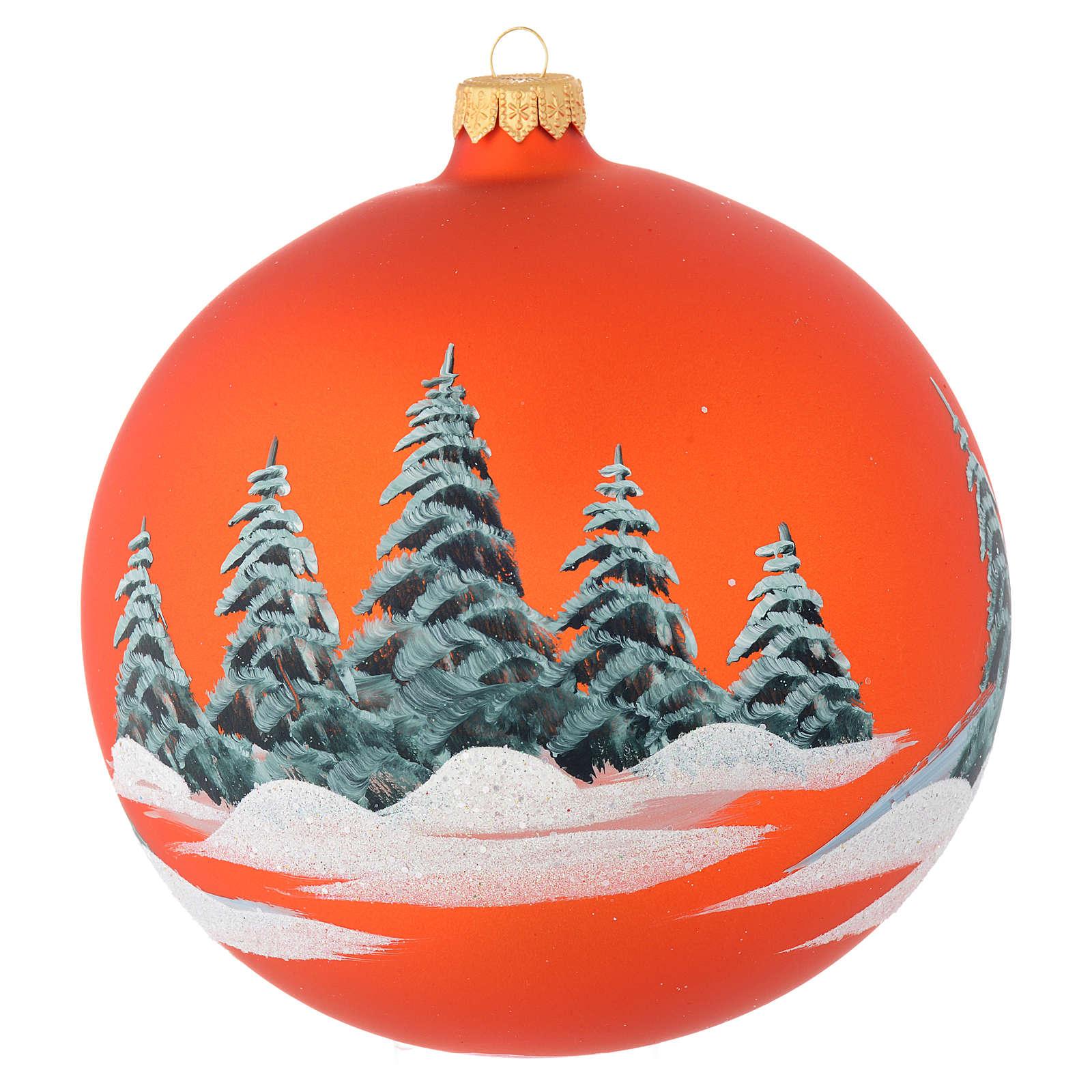 Palla vetro arancione paesaggio decoupage 150 mm 4