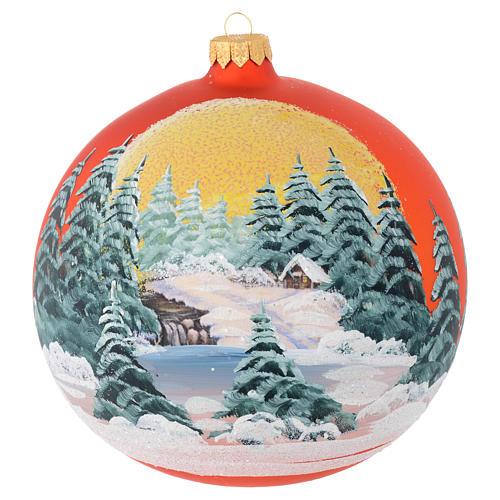 Palla vetro arancione paesaggio decoupage 150 mm 1