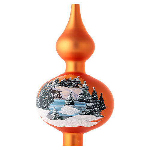 Christmas tree topper in orange blown glass with decoupage landscape 2