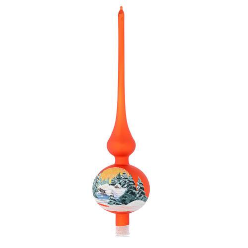 Puntale vetro arancione paesaggio decoupage 1