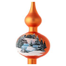 Ozdoba bożonarodzeniowa szkło koloru pomarańczowego  pejzaż decoupage s2