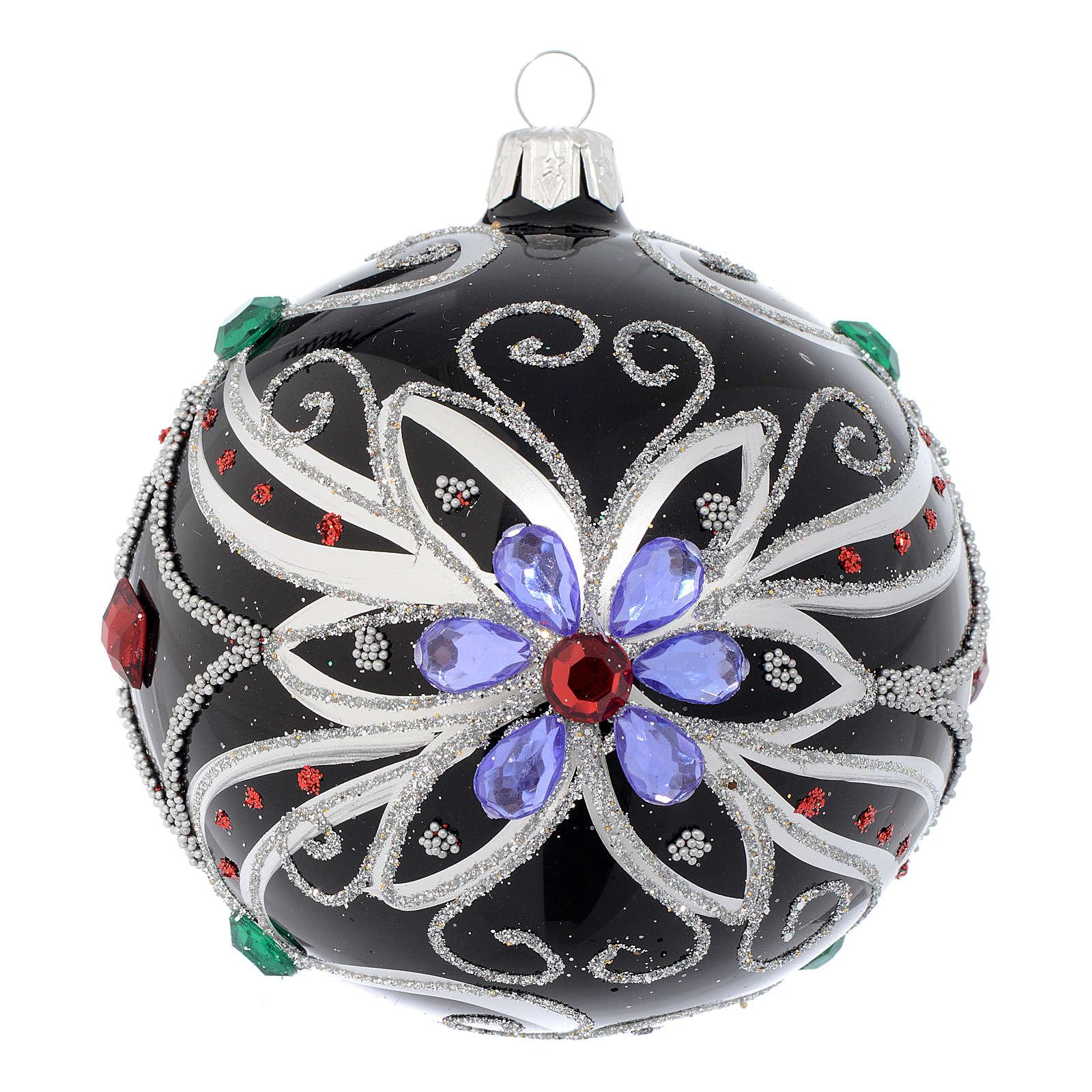 Pallina Natale in vetro soffiato decoro floreale nero e argento 100 mm 4