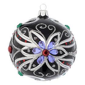 Pallina Natale in vetro soffiato decoro floreale nero e argento 100 mm s1