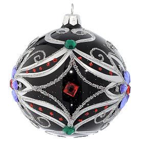 Pallina Natale in vetro soffiato decoro floreale nero e argento 100 mm s2