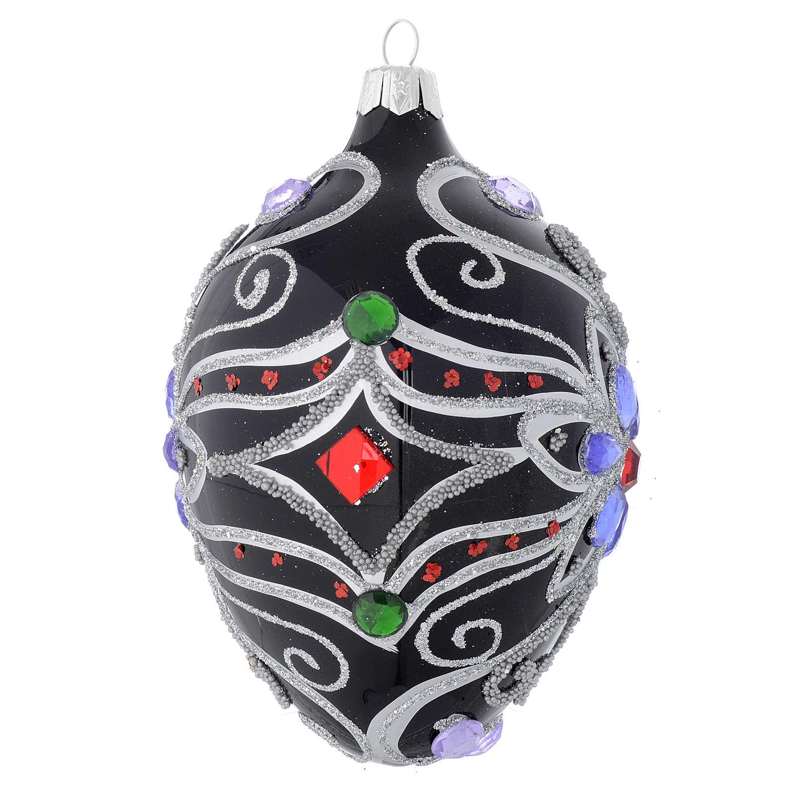 Bola de Navidad oval de vidrio negro y plata con decoración floral 130 mm 4