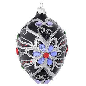 Palla Natale ovale in vetro decoro floreale nero e argento 130 mm s1