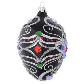 Palla Natale ovale in vetro decoro floreale nero e argento 130 mm s2