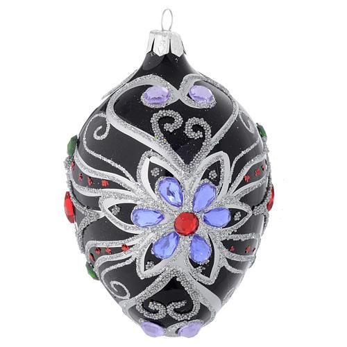 Palla Natale ovale in vetro decoro floreale nero e argento 130 mm 1