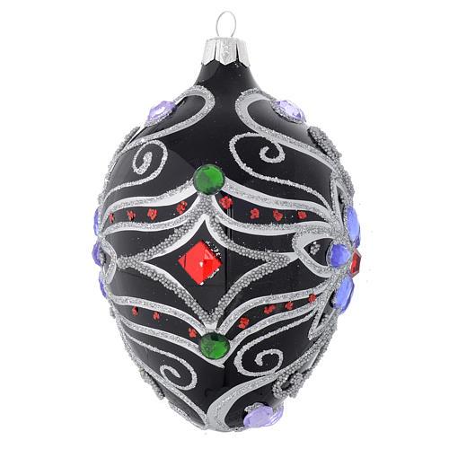 Palla Natale ovale in vetro decoro floreale nero e argento 130 mm 2