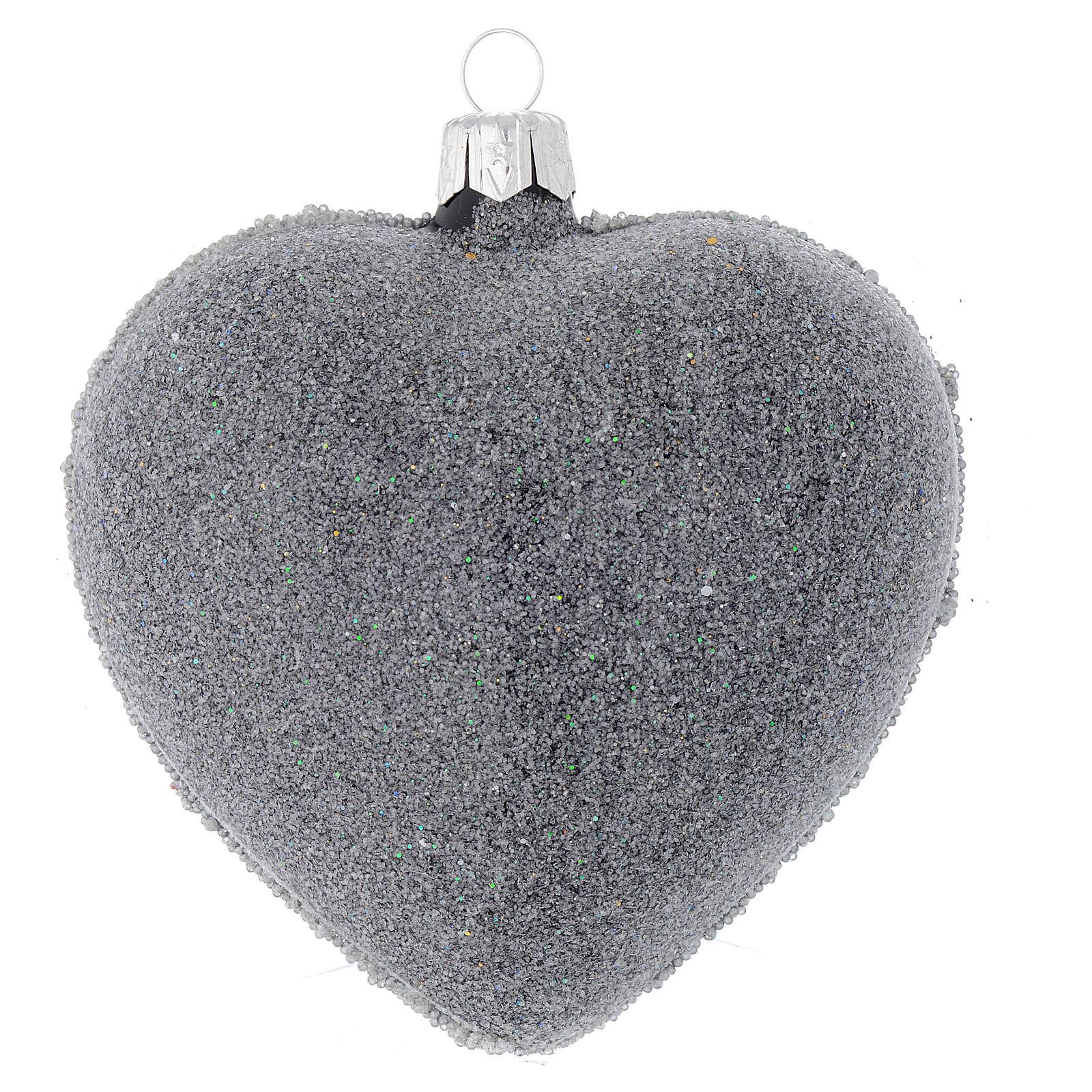 Bola de Navidad corazón vidrio negro y decoración floral 100 mm 4