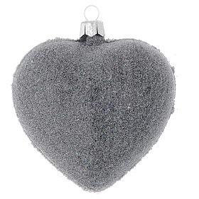Bola de Navidad corazón vidrio negro y decoración floral 100 mm s2