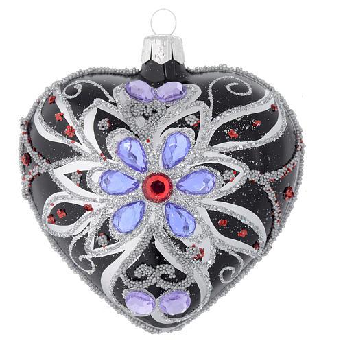 Bola de Navidad corazón vidrio negro y decoración floral 100 mm 1