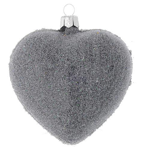 Bola de Navidad corazón vidrio negro y decoración floral 100 mm 2