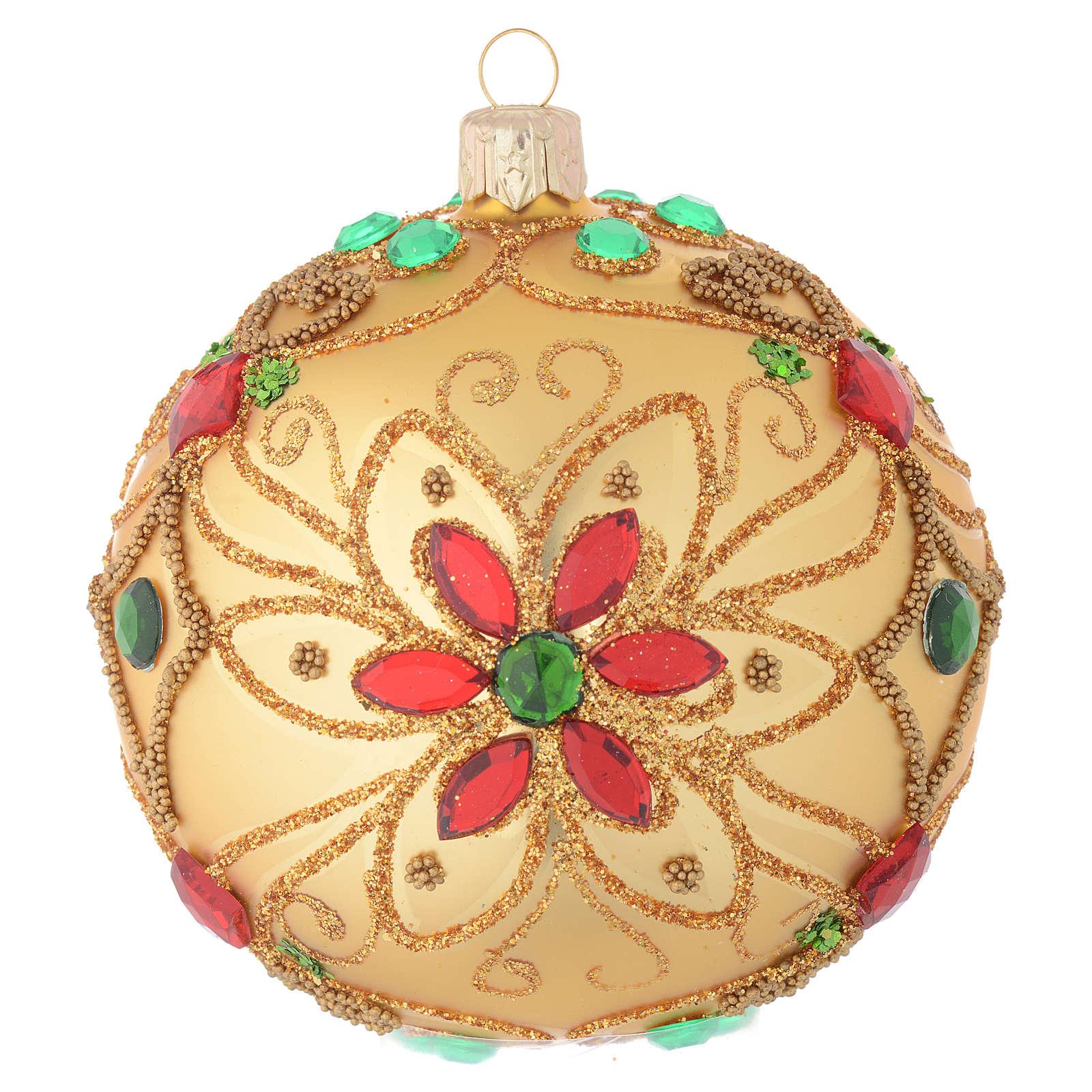 Pallina Natale in vetro soffiato decoro floreale oro e rosso 100 mm 4