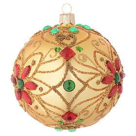 Pallina Natale in vetro soffiato decoro floreale oro e rosso 100 mm s2