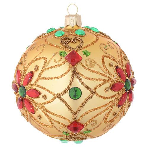 Pallina Natale in vetro soffiato decoro floreale oro e rosso 100 mm 2