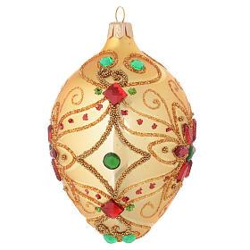 Palla Natale ovale in vetro soffiato decoro floreale oro e rosso 130 mm s2