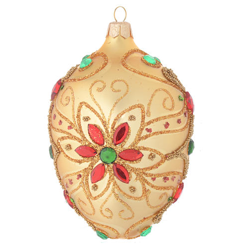 Palla Natale ovale in vetro soffiato decoro floreale oro e rosso 130 mm 1