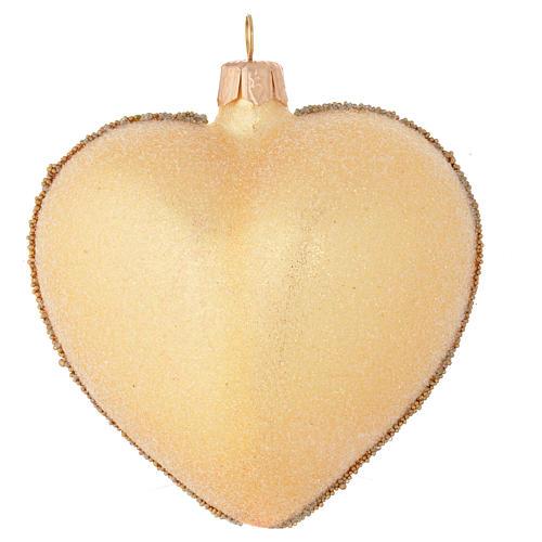 Pallina Natale forma di cuore vetro oro decoro floreale 100 mm 2
