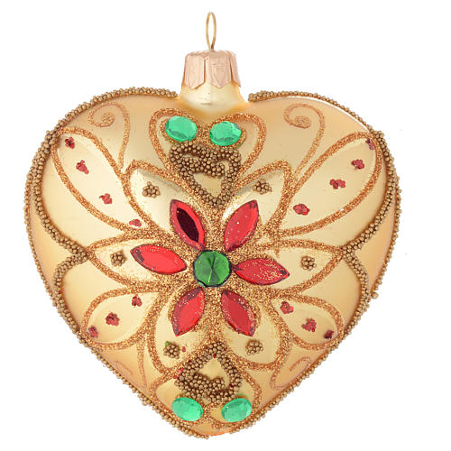 Heart shaped Christmas bauble in blown glass with floral decoration 100mm 1