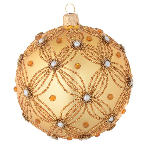 Christmas bauble in gold blown glass with decorations in relief 100mm 1