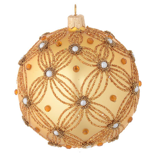 Christmas bauble in gold blown glass with decorations in relief 100mm 2