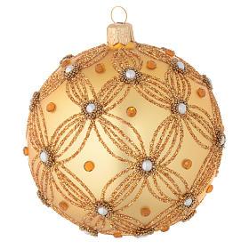 Bola de Navidad oro con decoración en relieve 100 mm s1