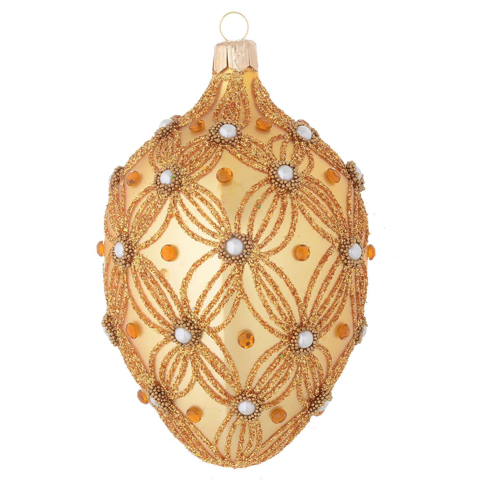 Oval Christmas bauble in gold blown glass with decorations in relief 130mm 4