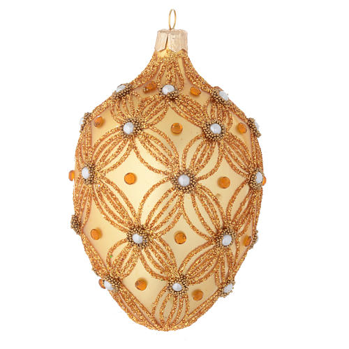 Oval Christmas bauble in gold blown glass with decorations in relief 130mm 1