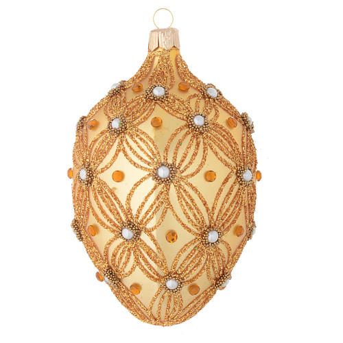 Oval Christmas bauble in gold blown glass with decorations in relief 130mm 2