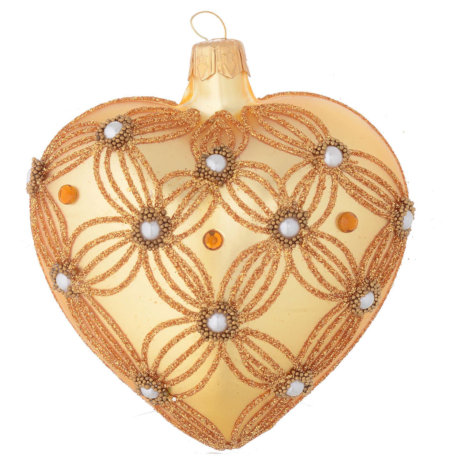 Bola de Navidad corazón de vidrio oro 100 mm 4