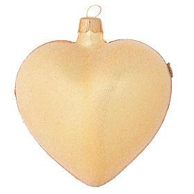 Bola de Navidad corazón de vidrio oro 100 mm s2
