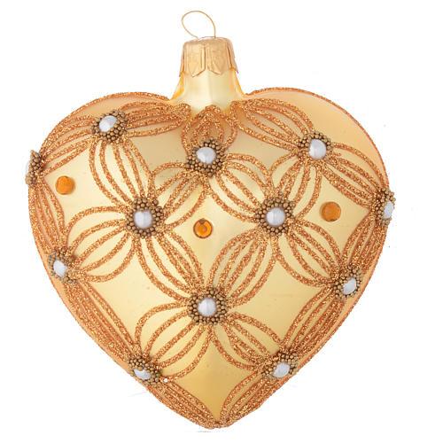 Bola de Navidad corazón de vidrio oro 100 mm 1