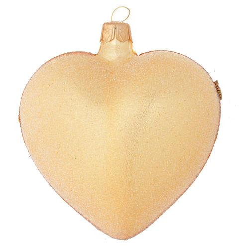 Bola de Navidad corazón de vidrio oro 100 mm 2