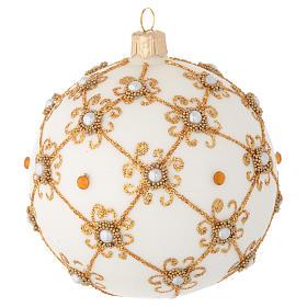 Bola de Navidad de vidrio soplado marfil y oro 100 mm s2