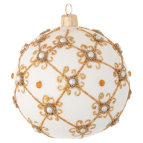 Bola de Navidad de vidrio soplado marfil y oro 100 mm 2