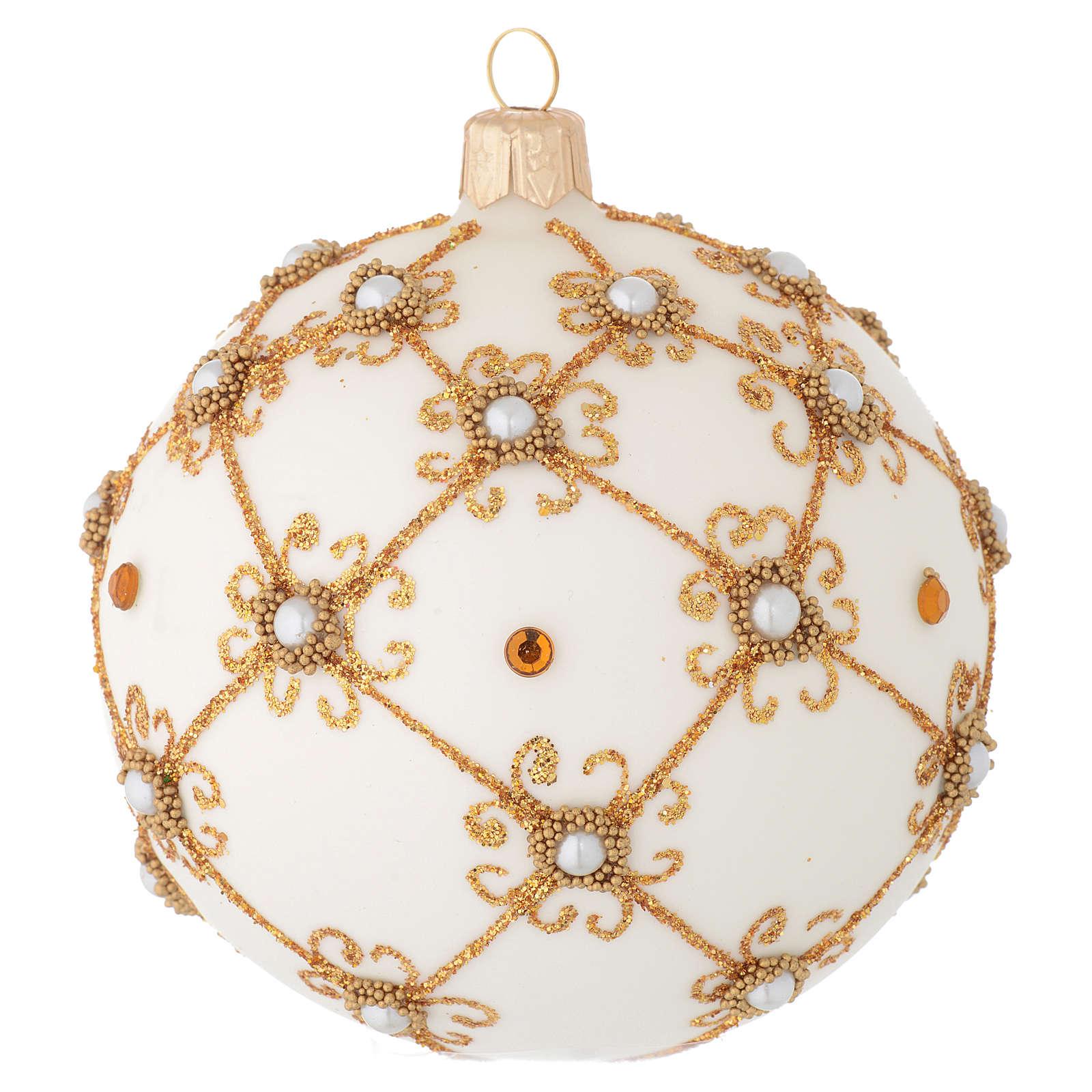 Pallina vetro soffiato avorio e oro 100 mm 4