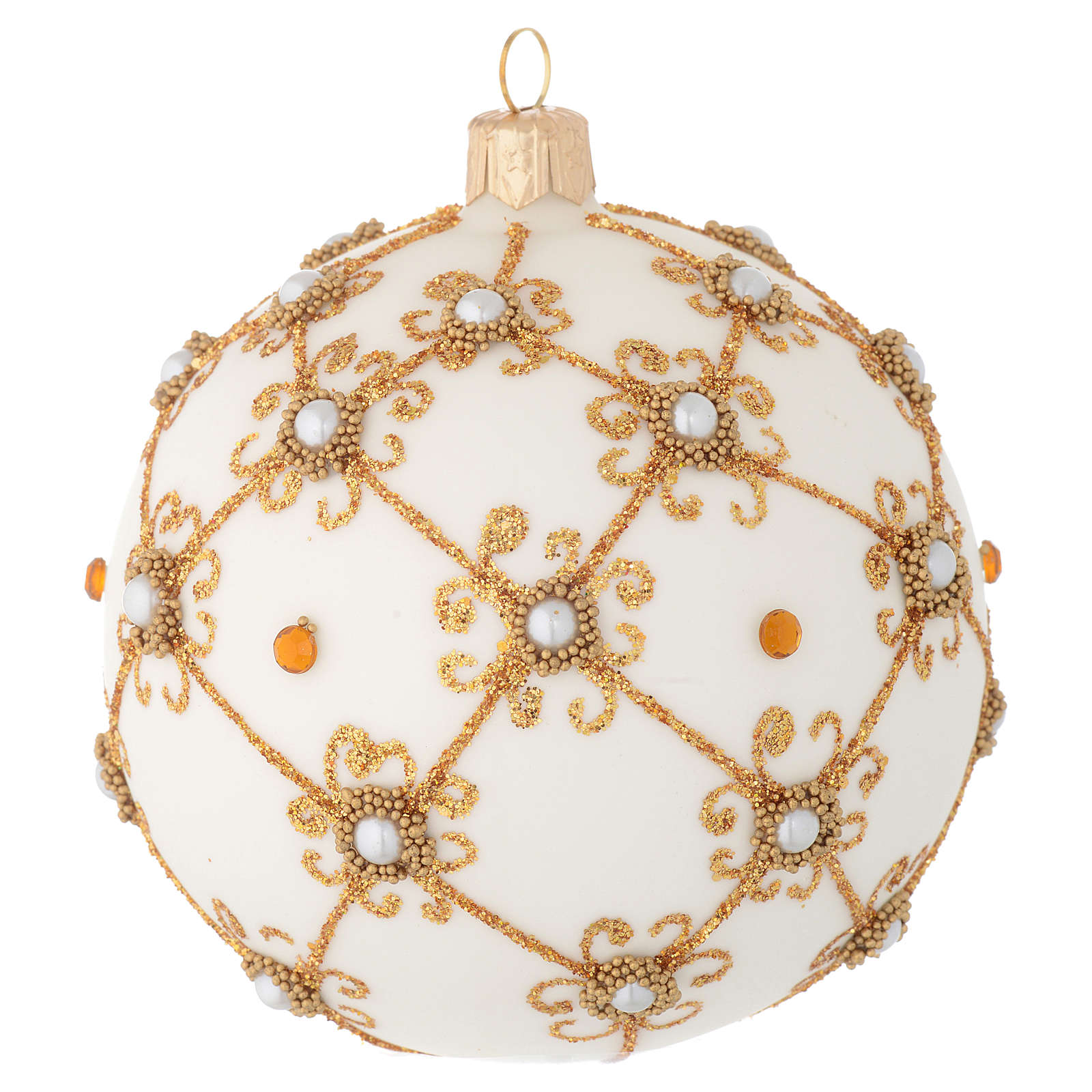 Christmas bauble in blown glass, ivory and gold 100mm 4