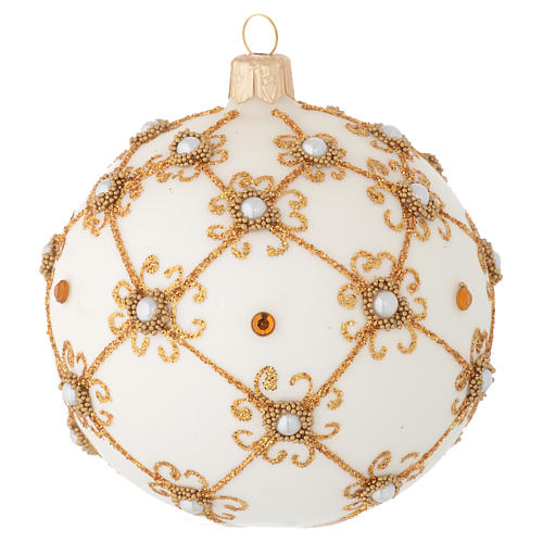 Christmas bauble in blown glass, ivory and gold 100mm 1