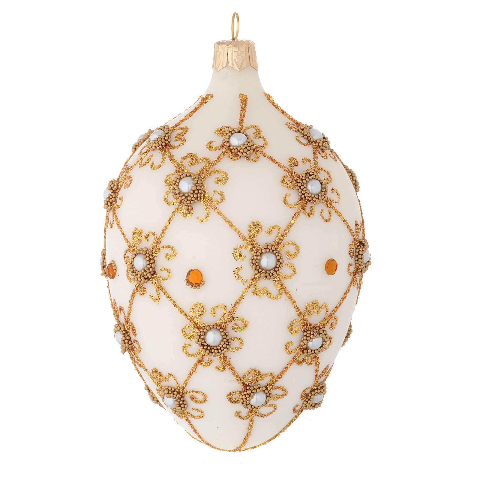 Bola de Navidad oval de vidrio soplado marfil y oro 130 mm 4