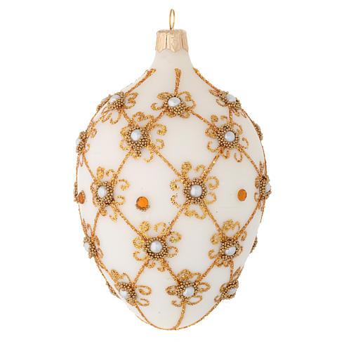 Bola de Navidad oval de vidrio soplado marfil y oro 130 mm 2