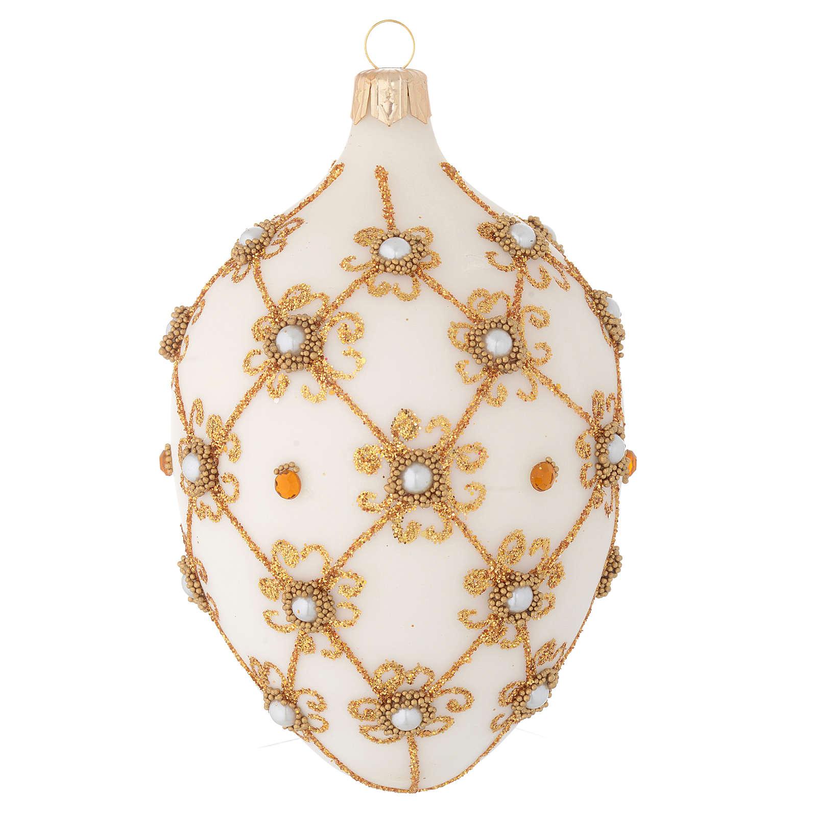 Boule ovale verre soufflé ivoire et or 130 mm 4