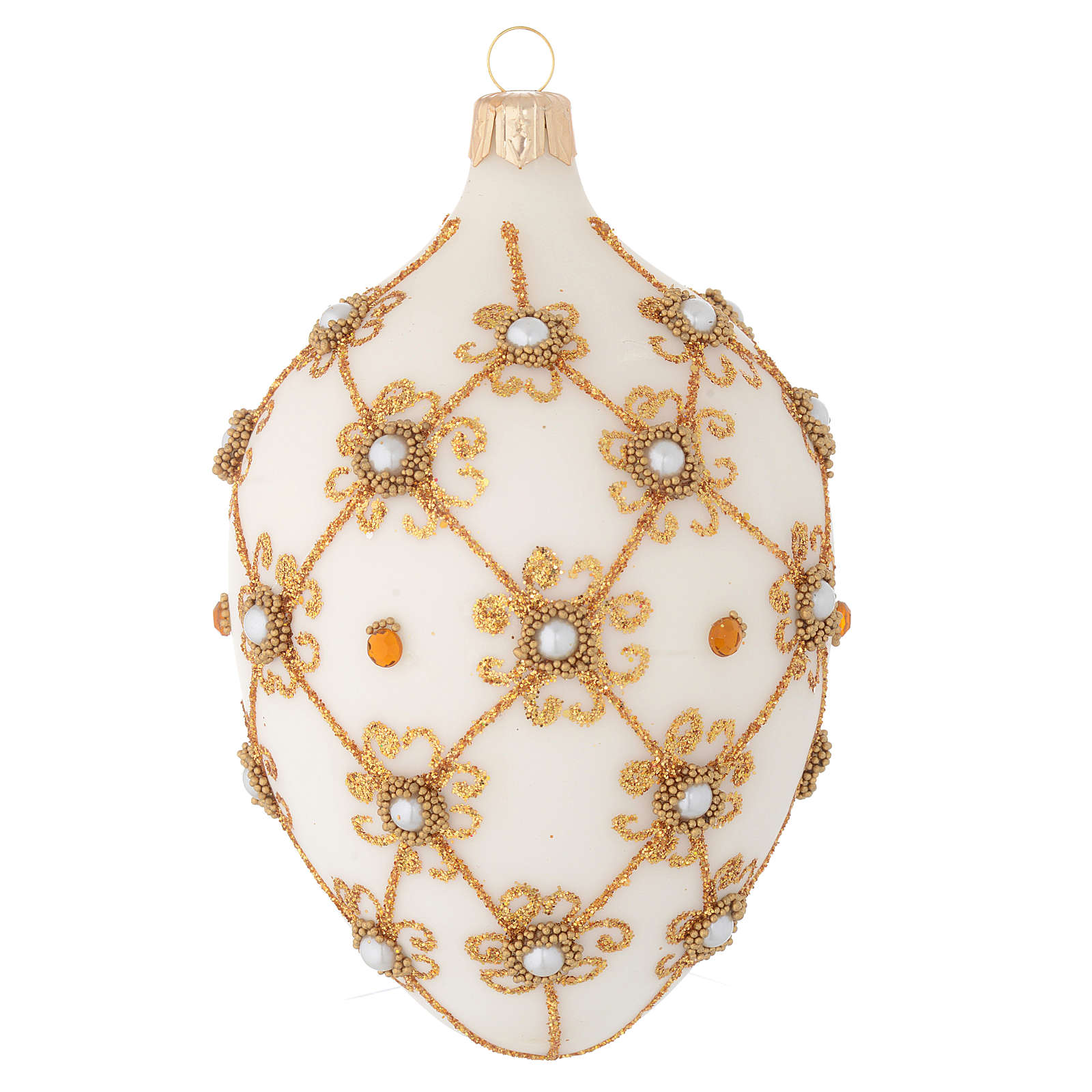 Oval Christmas bauble in ivory and gold blown glass 130mm 4