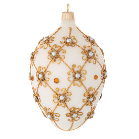 Oval Christmas bauble in ivory and gold blown glass 130mm s2