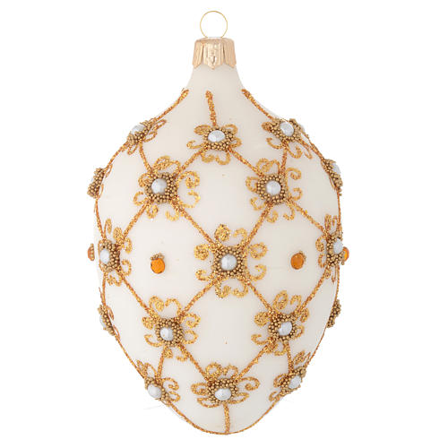 Oval Christmas bauble in ivory and gold blown glass 130mm 1