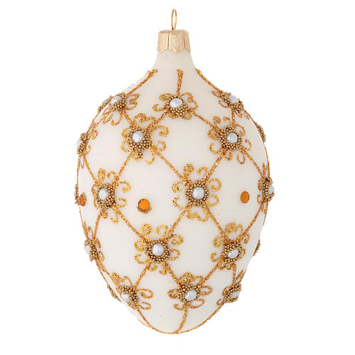 Oval Christmas bauble in ivory and gold blown glass 130mm 2