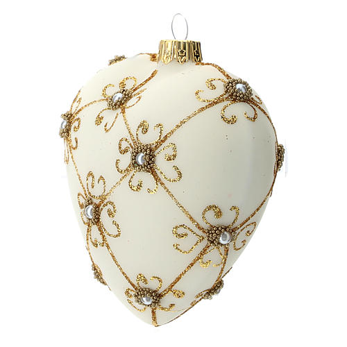 Heart Shaped Christmas bauble in blown glass with ivory and gold decorations 100mm 2