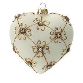 Bola de Navidad corazón de vidrio soplado marfil y oro 100 mm s1