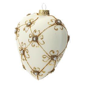Bola de Navidad corazón de vidrio soplado marfil y oro 100 mm s2