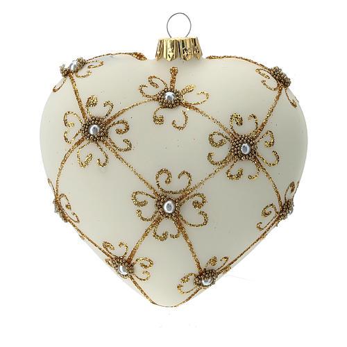 Bola de Navidad corazón de vidrio soplado marfil y oro 100 mm 1